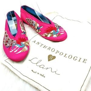 Anthropologie x Llani Embroidered Peacock Slippers
